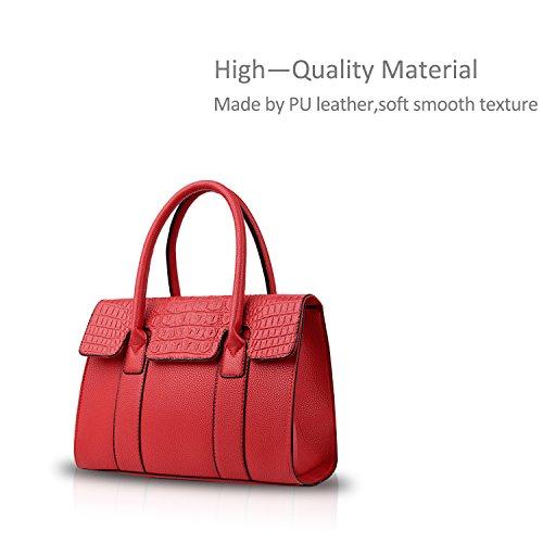NICOLE&DORIS Mode Frau Umhängetasche Krokodil Tote Handtasche Schultertasche PU Rot Rot