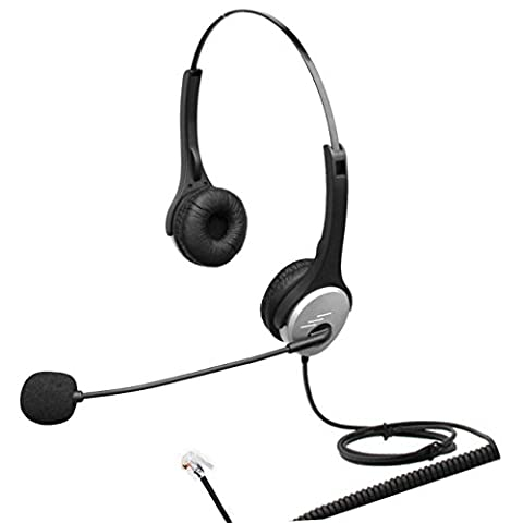 4Call H502CM Dual Ear Call Center Telephone RJ Headset with Noise Canceling Microphone for Plantronics M10 M22 Vista Adapter and AT&T CallMaster V VI & Cisco Unified Office IP Phones 7941G