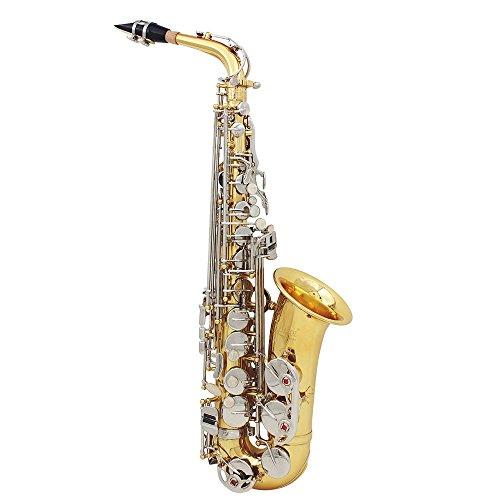 ammoon Lade Alto Saxophon Tenor Messing glänzend Gravur EB e-flat weiß natur Shell Knopf Blasinstrumente mit der Handschuhe Case Mute Reinigungstuch Fett Belt Brush