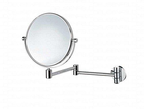 DEUSENFELD K102C - Doppel Wand Kosmetikspiegel, Rasierspiegel, Schminkspiegel, 2-Armig, 10x Vergrößerung + Normalspiegel, Ø20cm, 360° vertikal und horizontal schwenkbar, Messing verchromt, rostfrei