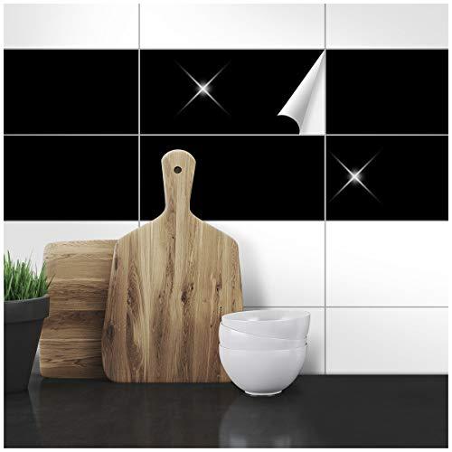 Wandkings Fliesenaufkleber - Wähle eine Farbe & Größe - Schwarz Glänzend - 14,5 x 24,5 cm - 20 Stück für Fliesen in Küche, Bad & mehr (Schwarz-vinyl-fliesen)