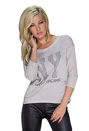 1002 Fashion4Young Damen Legere geschnittenes Langarm-Shirt Pullover Pulli Gr. 36/38 verfügbar in 4 Farben (36/38, Creme)