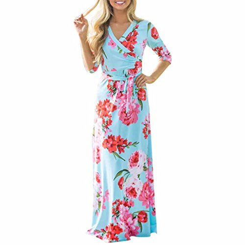 Tenworld Women Floral Printed Half Sleeve Boho Evening Party Dress Long Dress (US 6
