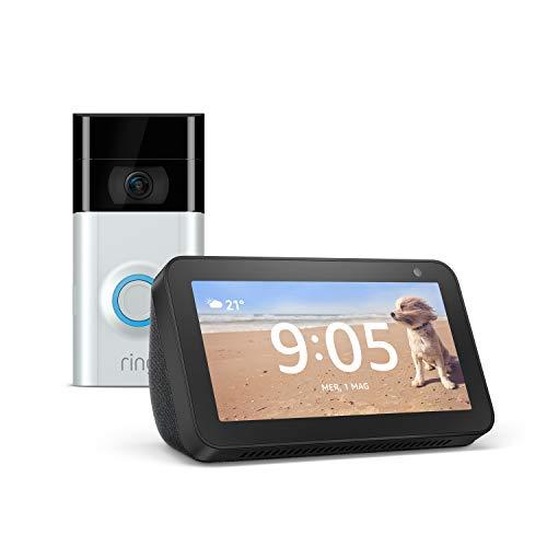 Echo Show 5 (Nero) +Ring Video Doorbell 2 | Videocitofono in HD a 1080p, comunicazione bidirezionale, rilevazione di movimento, connessione Wi-Fi