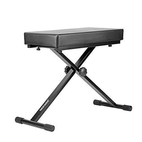 """Neewer® Abnehmbarer, gepolsterter Keyboardbank mit X-Art-Eisen-Beine, 4-fach höhenverstellbare (21.6 """"/23.6"""" /24.8 """"/26.8"""", 55cm / 60cm / 63cm / 68cm), Schwarz"""