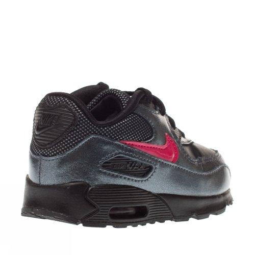 Nike - Nike Air Max 90 2007 (TD) Scarpe Bambina Grigie Pelle Lacci 408112 Nero/Rosa
