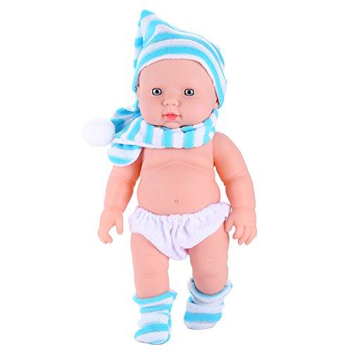 Befied Interactive Puppe 30cm Baby Spielzeug Mit Mütze Schal (Blau) Porzellan Puppe Baby