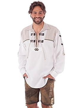 orbis Textil OS-Trachten Trachtenhemd Krempelarm Sticklegende Bartho Weiss