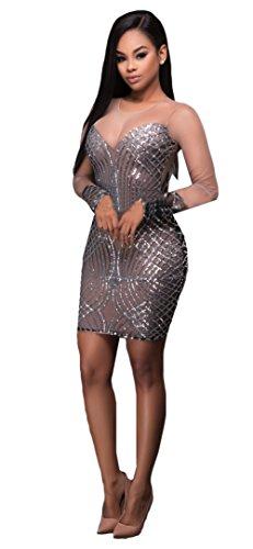 Frauen reizvolle geometrische Pailletten Verbandsmull Transparent Clubwear-Paket-Hüfte-Kleid Grau