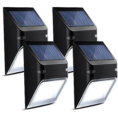 Luci Solari Impermeabili Mpow Luci da Parete Lampada Wireless ad Energia Solare da Esterno con 5 Lampadine LED per Parete / Giardino / Cortile / Scale / Muro, Giorno Auto Spento/Notte Auto Acceso - (Non Dim Light Mode) - 4 Pezzi