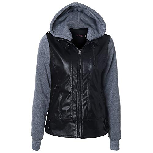 LGWQ Damenjacke Winter Damenoberbekleidung Plus Velvet Padded Jacket Hooded Abnehmbare Jacke Leder 8