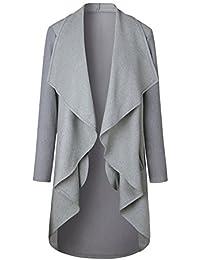 Eg /_ Damen Einfarbig Locker Langärmlig Strickjacke Taschen Langer Mantel Klasse