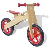 vidaXL Vélo d'équilibre en Bois Rouge Bicyclette Vélo pour garçons Filles Enfants