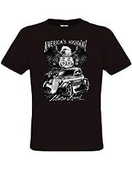 Ethno Designs - Mother Road - Hot Rod T-Shirt pour Hommes - Old School Rockabilly Vintage Shirt Retro Style - regular fit