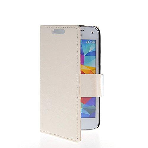 Samsung Galaxy S5 Mini Coque, CaseWin [Fou Cheval Modèle][Pare-chocs][Antidérapant] Portefeuille en Cuir PU Coque avec Fonction Flip Stand et Machines à sous Couvercle De Fermeture Magnétique(blanc)