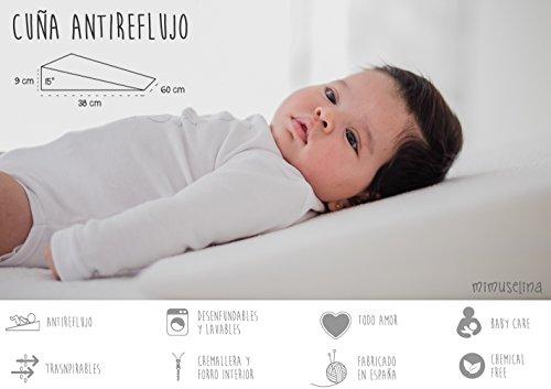 Cuña Antireflujo bebe |  Almohada inclinada para cólicos (desenfundable) cuña bebe para dormir en cuna