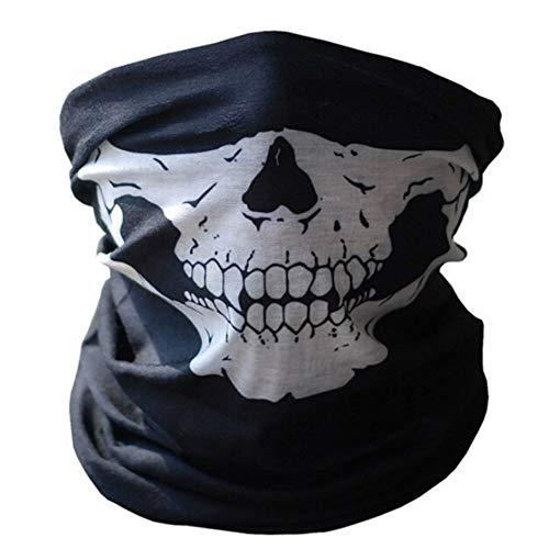 LOTONJT 1 Stück Totenkopf Schwarz Skull Maske Premium Sturmmaske Nahtlos Schädel Gesicht Schlauch für Motorrad Fahrrad Ski Paintball Gamer Karneval Kostüm (1 Stück)