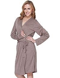 YiLianDa Femme Peignoir Court Confortable Col en V Robe de Chambre Pyjama 2e6c262de179