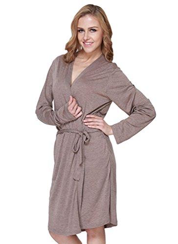 YiLianDa Femme Peignoir Court Confortable Col en V Robe de Chambre Pyjama M