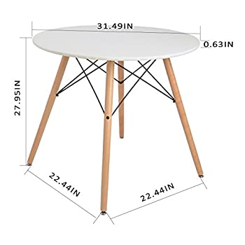 joolihome living Dining Table and Chairs Set 4, Round Wooden Table with 4 White Chairs for Home, Office, Dining Room, Kitchen
