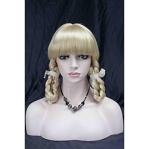 YONG nuovi scoppi cosplay carino teatro pallido parrucca bionda con due trecce , 613