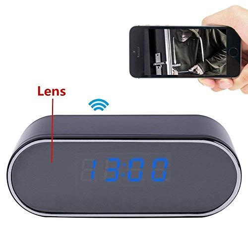TenSky 1080P HD Reloj Despertador WiFi Red Espía Cámara Mini DV Videocámara Portátil Grabador de Vídeo Soporte Android iPhone App Vista Remota