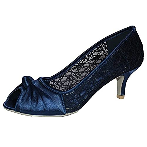 Chic Feet Womens Navy Blue Lace Prom Wedding Bridal Ladies Peep Toe Low  Heel Party Court Shoes   UK Size 7