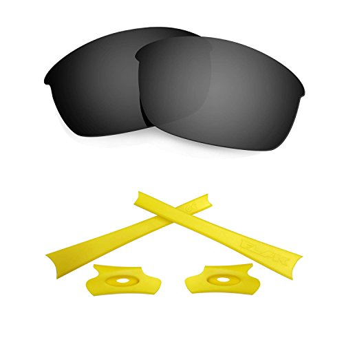 HKUCO For Oakley Flak Jacket Black Polarized Replacement Lenses And Yellow Earsocks Rubber Kit