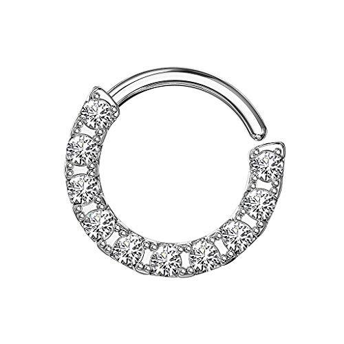Piersando Piercing Continuous Ring 925 Silber mit Kristall Glitzer Septum Tragus Helix Ohr Nase Nasenpiercing Ohrpiercing Tribal Silber 1,2mm x 10mm