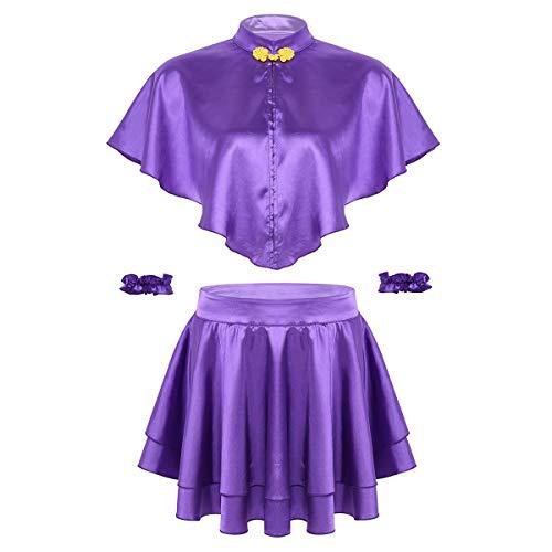 inhzoy Frauen Cosplay Kostüm Stehkragen Umhang mit Minirock und Armband Halloween Outfits Party Drama Musicals Lila Violett Medium (Drama Kostüm Medium)