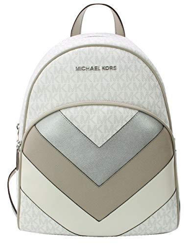 Michael Kors Abbey Rucksack, monogramm, PVC-beschichtet, mit Zickzackmuster, Weiß - bright white - Größe: Medium -
