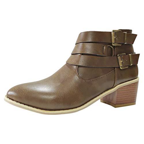 Splrit-MAN Damen Stiefeletten Ankle Boots Plateau Chelsea Boots Blockabsatz Kurzschaft Stiefel Absatz Schuhe Winter Elegant Schwarz Braun Kaffee -