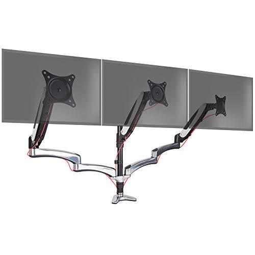 Duronic DM653 Monitorhalterung | Tischhalterung | Standfuß | Gasspannungsregeleung | Höhenverstellbar | 15-27 Zoll | für DREI LCD/LED Monitore | Neig, Schwenk und Rotierfunktion -
