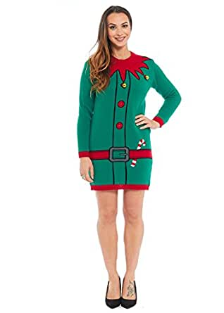 Lekeez® Ladies Tunic Christmas Xmas Long Jumper Knitted Novelty Sweater 2017 All Sizes (6, ELF WITH BELLS TUNIC)