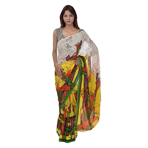 Saundarya Sarees Women Chiffon Printed Multi-Coloured Saree