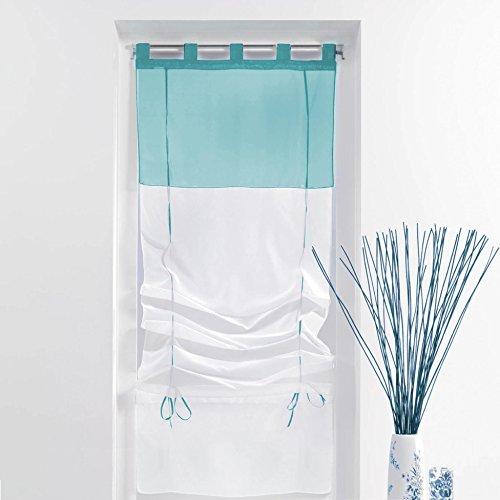 Douceur d'Intérieur Store Forme Droite Voile Polyester Blanc/Bleu 180 x 60 cm