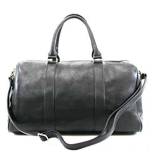 LeahWard® Damen Herren Reisetasche Qualität Kunstleder Tasche Handgepäck 41412 (Schwarz Ebene H28cm x W43cm x D24cm)
