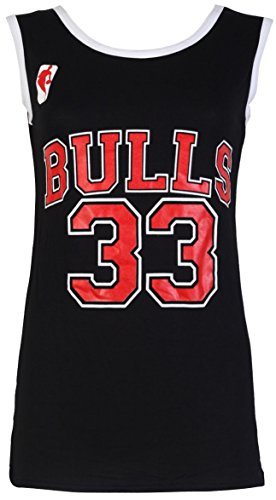 Camiseta sin mangas para mujer - Chicago Bulls 33 - Tallas 8-14 multicolor negro Talla única