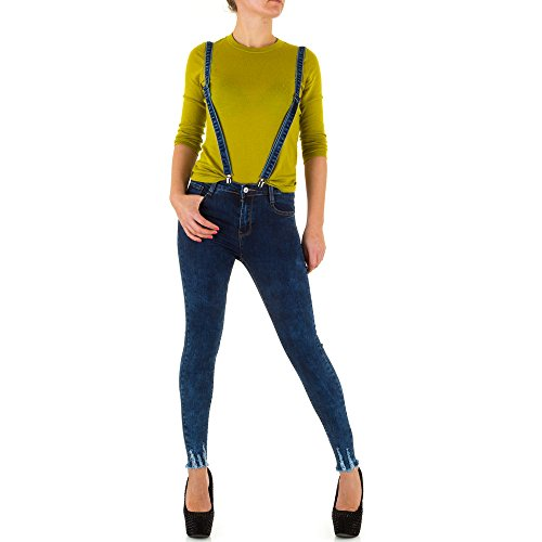 Damen Jeans Hose Jeanshose Used Look Skinny Röhre Bleistifthose Röhrenhose Latzjeans Latzhose Hose mit Träger Overall Blau L/40