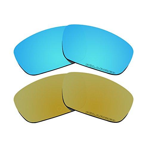 Polarisierte Ersatzgläser für Oakley Kurbelwellen-Sonnenbrillen, goldfarben, Blau, 2 Paar