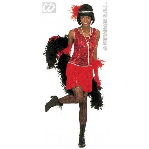 20er Jazz Flapper Girl in rot Farben Fasching Kostüm Damen M (Kostüme 40's Roaring)