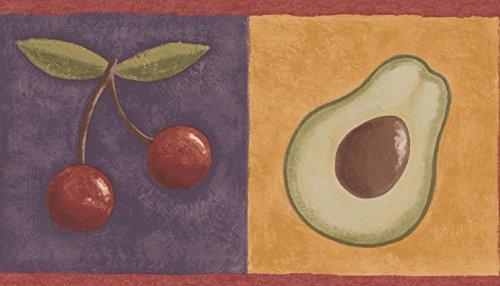 RetroArt Roll-Zitrone Kirsche Avocado Trauben auf bunten Quadraten Küche Bad Tapete Grenze Retro-Design, 15' x 6'' (Avocado-bad)