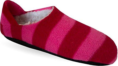 normani Damen und Herren Hausschuhe mit ABS Aufdruck Farbe Rot/Pink Größe 35/38