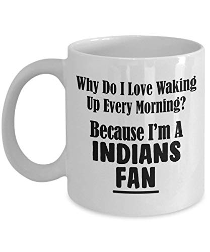 XIEXING Strong Stability Durable Indians Fan Kaffeebecher - Love Waking Up Every Morning – Baseball Team Sports Ceramic Coffee Tea Cup – 11 oz