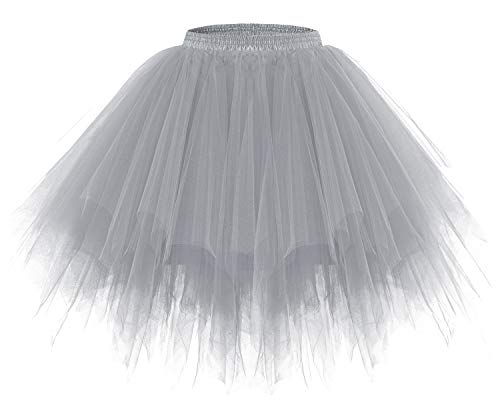 bridesmay Tutu Damenrock Tüllrock 50er Kurz Ballet Tanzkleid Unterkleid Cosplay Crinoline Petticoat für Rockabilly Kleid Grey S