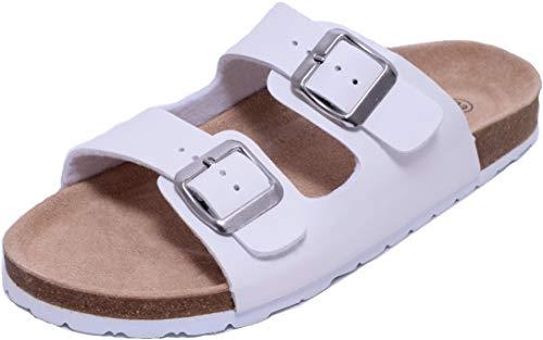 Zapato Damen Bio Clogs Pantolette Sandale Slipper Tieffußbett 2 Schnallen Gr. 38-41 weiß (38, weiß)