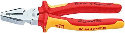 KNIPEX 02 06 200 Kraft-Kombizange verchromt isoliert mit Mehrkomponenten-Hüllen, VDE-geprüft 200 mm