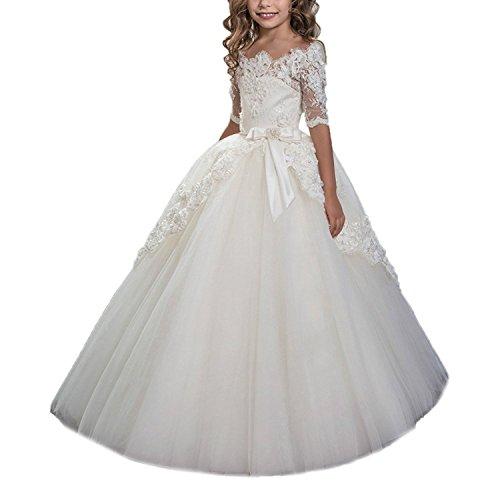 HotGirls Prinzessin Mädchen heilige Kommunion Festzug Kleider Kinder halbe Ärmel (10)