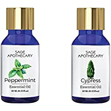 Sage Apothecary Essential Oil Combo 2 in 1 pack (Peppermint & Cypress)│100% pure