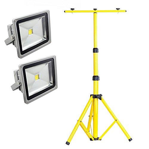 SAILUN 2 x 50W LED Fluter Strahler Licht Scheinwerfer Außenstrahler Wandstrahler Silber Aluminium IP65 Wasserdicht AC 85 - 265V+ Teleskop Stativ(50-150CM) (50W, Kaltweiß)